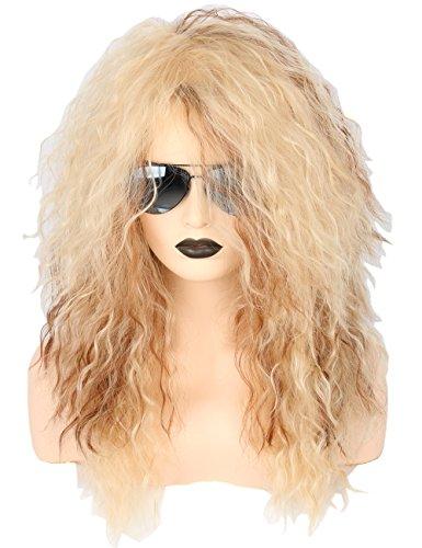 Topcosplay 70er 80er Jahre Mullet Perücke Blond für Herren Damen, Rocker Lockige Perücken Lang für Halloween Kostüm Fasching