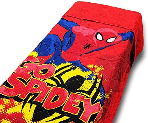 Novia Trapuntino Copriletto Quilt Letto Singolo Una Piazza Spiderman Marvel 100% Cotone 100 Grammi (Rosso)