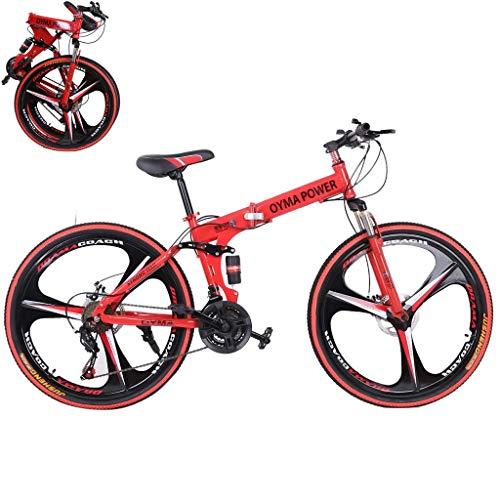 PUTEARDAT 26 inch Mountain Bike Shimanos Folding Bikes for Men Womans 21 Speed Full Suspension Disc...