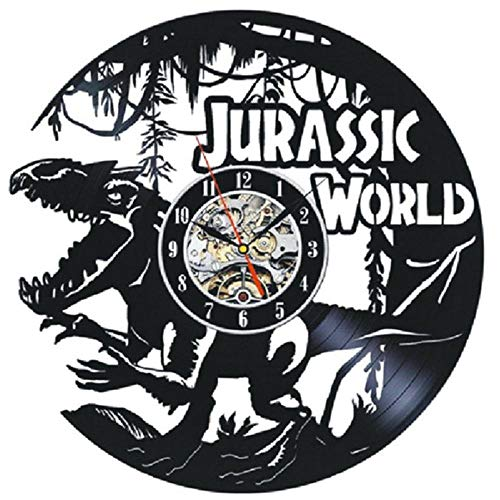 Rango de Vinilo Reloj de Pared Reloj silencioso LED para Sala de Estar Reloj Colgante con Luces de 7 Colores Decoración para el hogar Jurásico Mundo Dinosaurio-No liderado