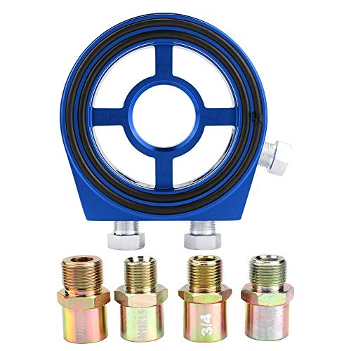 Placa de emparedado del filtro de aceite, azul de aluo Adaptador universal de placa de emparedado del medidor del enfriador de temperatura del filtro de aceite