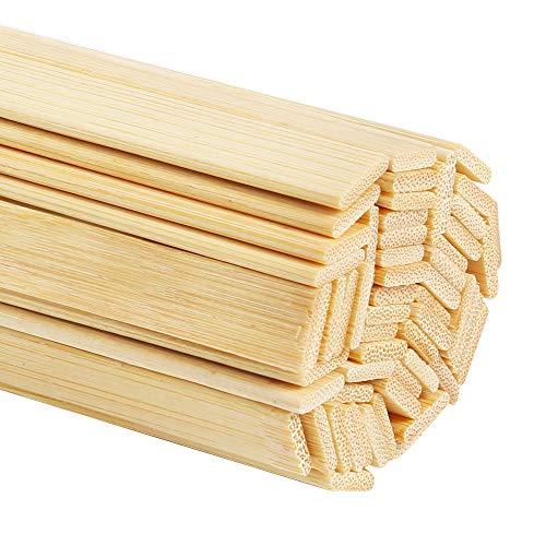 Pllieay - 60 palillos de bambú natural para manualidades (15,7 pulgadas de largo x 3/8 pulgadas de ancho)