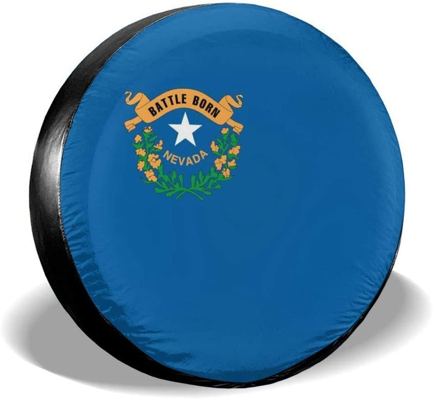 Nevada Flag Spare Tire Cover Rare Dust-Proof Fit Rapid rise Tyre fo UV Sun