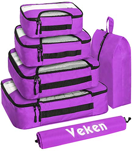 Veken 6 Set Packing Cubes, Travel Luggage Organizers with Laundry Bag & Shoe Bag (Purple)