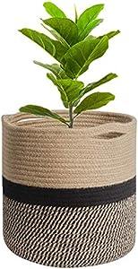 Cesta de cuerda de algodón para macetas de plantas de interior, cesta de almacenamiento organizador para juguetes o ropa de niños (Khaki con negro, 20 x 20 cm)