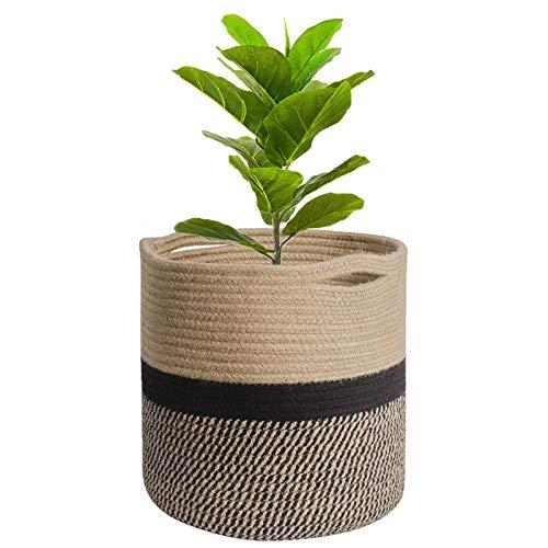 Cestas para Plantas ,decoración de macetas de interior plegable, canasta de lavandería, canasta de almacenamiento para el hogar (Khaki con negro, 25 x 25 cm)