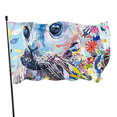 GOSMAO Bandera de jardín Sello Animal Pintura Colorida Color Vivo y Resistente a la decoloración UV Bandera de Patio Cosida Doble Bandera de Temporada Banderas de Pared 150X90cm