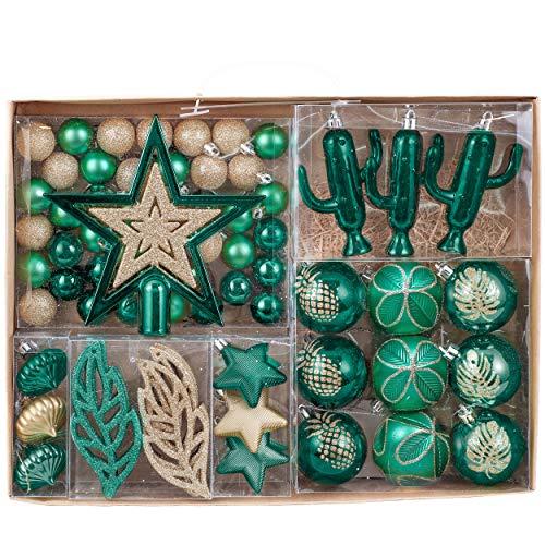 Valery Madelyn Palle di Natale 70 Pezzi di Palline di Natale, 3-10 cm di Strada di Campagna Rosso Verde e Oro Infrangibile Ornamenti di Palla di Natale Decorazione per la Decorazione