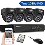 [TRUE 1080p] SANSCO 4 Channel FHD <span class='highlight'>CCTV</span> Camera System with 4 2 Mega-pixel Indoor Outdoor Dome Cameras and 1TB Internal Hard Drive (2M Recording/Playback, Instant Email Alerts, Day/Night Vision, Vandal-Proof Housing, Mobile App: Xmeye)