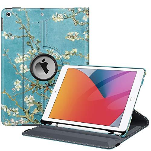Fintie Hülle für iPad 10.2 Zoll (8. & 7 Generation, Modell 2020/2019), 360 Grad Rotierend Stand Schutzhülle Cover mit eingebautem Pencil Halter, Auto Schlaf/Wach Funktion, Mandelblüten