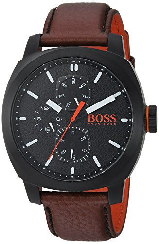 HUGO BOSS Men's 'CAPE TOWN' Quartz Stainless Steel and Leather Casual Watch, Color:Brown (Model: 1550028)
