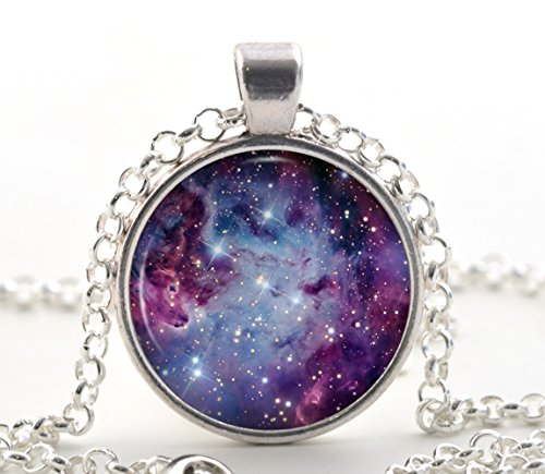 Purple Nebula Pendant Necklace - Starry Galaxy Space Art for Women and Girls