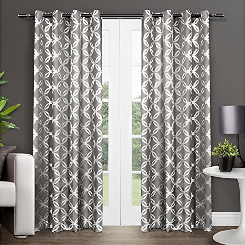 Exclusive Home Curtains Modo Metallic Geometric Window Curtain Panel Pair with Grommet Top, 54x96, Black Pearl, 2 Count