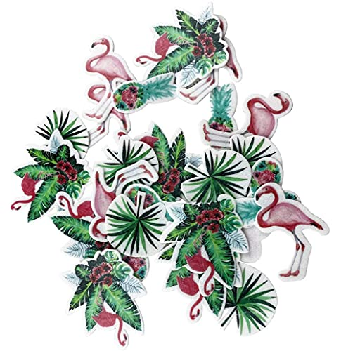 45Pcs Edible Wafer Cupcake Toppers Cake Flamingo Turtle Leaf Cake Decoration Birthday Mini Size & Mix Colour