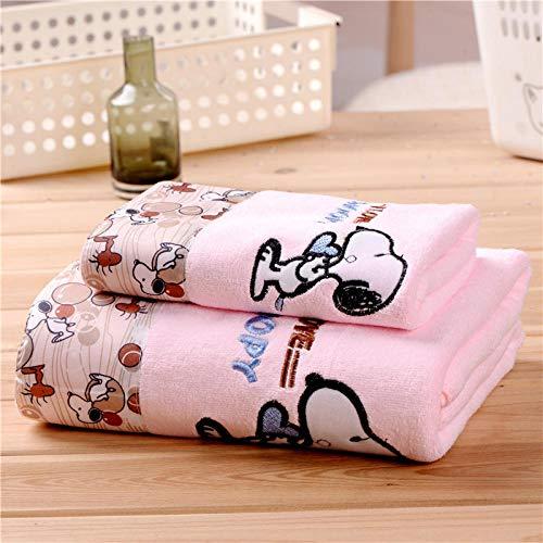 LHK Toalla + Toalla de baño Juego de 2 Piezas Toalla de baño de Regalo de Dibujos Animados Absorbente Suave Toalla Grande - Rosa Snoopy_70 * 140cm