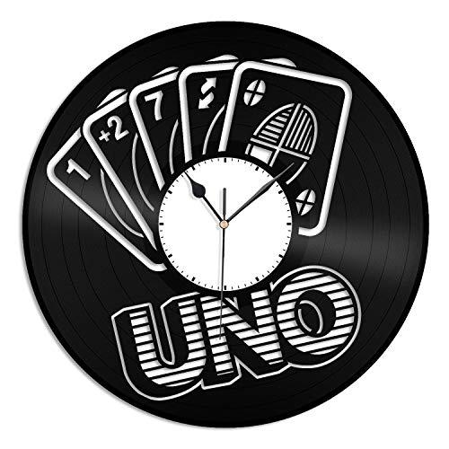 UNO Game Vinyl Wanduhr Einzigartiges Geschenk für Freunde Männer Frauen Home Decoration Vintage Design Büro Bar Zimmer Home Decor