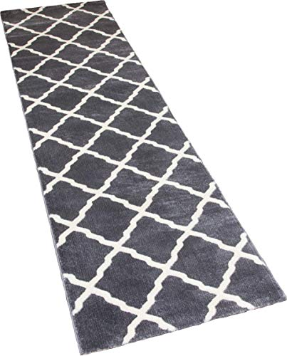 SrS Rugs Toscana Collection, Moroccan Lattice Long Rug Runner, for Hallway & Stairs with 12mm Soft Pile. 66cm Wide. Any Length (Grey & Cream, Length: 48' (14.6m))