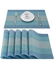 CHAOCHI Manteles Individuales Lavables Desgaste Set de 6 Salvamantele Individuales PVC Resistentes para la Mesa de Comedor de Cocina,Haz la Mesa más Bella(Azul)