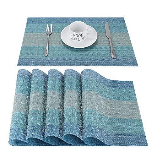 Platzsets Abwischbar Tischsets 6er Set Abwaschbar Platzset Blau PVC Hitzebeständig Platzdeckchen Vinyl Tischmatten Schmutzabweisend Platzmatten für Zuhause Restaurant Küche Speisetisch,30x45cm