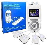 TENS EMS Electroestimulador digital,Electroestimulador Masaje de 9 modos para Aliviar el Dolor Muscular y el Fortalecimiento Muscular,Pantalla LCD Azul