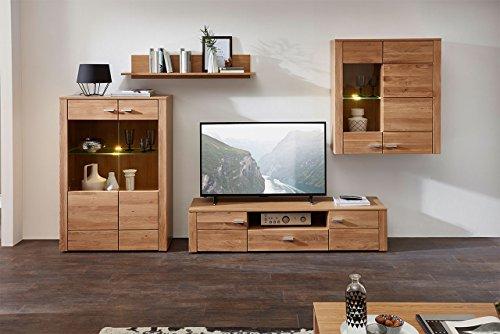 lifestyle4living Wohnzimmerschrank, Wohnwand, Schrankwand, Anbauwand, Fernsehwand, Wohnzimmerschrankwand, Wohnschrank, Wildeiche, Eiche, teilmassiv, Bianco