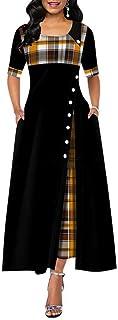 Elegante Vestido Largo Mujer Primavera Plaid Print Party Dress Irregular Vintage Dresses Ladies Button 2020 Nuevo Vestido de Moda