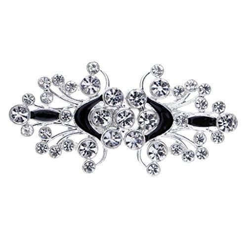 Hellery 1 Par de Pinzas de Vestido de Boda de Diamantes con Hebilla de Cristal con Forma de Concha - Plata, 63 x 31 mm
