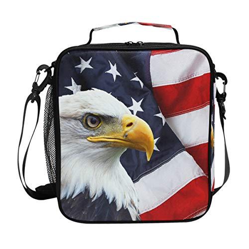 JOYPRINT Lunch Box Bag American Flag Bald Eagle Lunchbox Insulated Thermal Cooler Ice Adjustable Shoulder Strap for Women Men Boys Girls