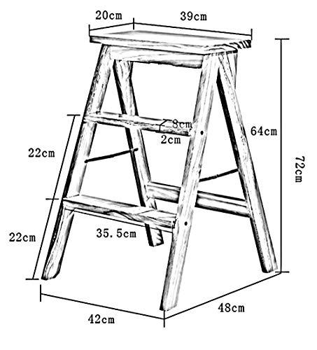 GUOXY Multifunktions-3 Schritte Kliter Hocker Holzleiter Mit Fischgrätmuster Küche Massivholzstuhl, 3 Farben, 39X20X64Cm Trittschemel,a