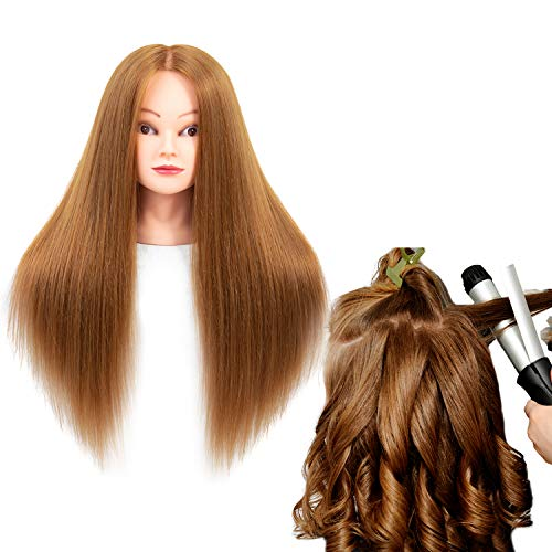 Mannequin Head with Human Hair 60% Straight Professional Bride Hairdressing Training Head with Stand Cosmetology Doll Head for Styling Braid Curl Cut Practice (26 inch Make up, 27#)