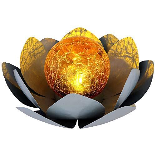 Buddha Garten Lotusblüte Deko Solar Lotusblüte für Außen Garten Deko Leuchten, Crackle Glas Metallblätter grau, 1x LED, D 25 cm