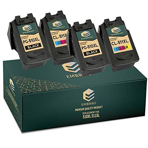 EMBRIIO 4X PG-510XL CL-511XL Cartuchos de Tinta PG-510 CL-511 Reemplazo para Canon Pixma MP495 MP250 MP280 MP270 MP499 MP230 MP272 MX350 MX340 MX410 MP240 MP480 iP2702 MP490 iP2700 MX320 MP260 MX420