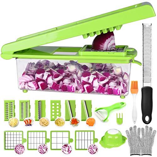 Cortador de verduras y frutas, 24 en 1, cuchillas más grandes de acero inoxidable (con cajas), cortador de cebollas vegetales, rallador , juliana,[ rallador independiente ]