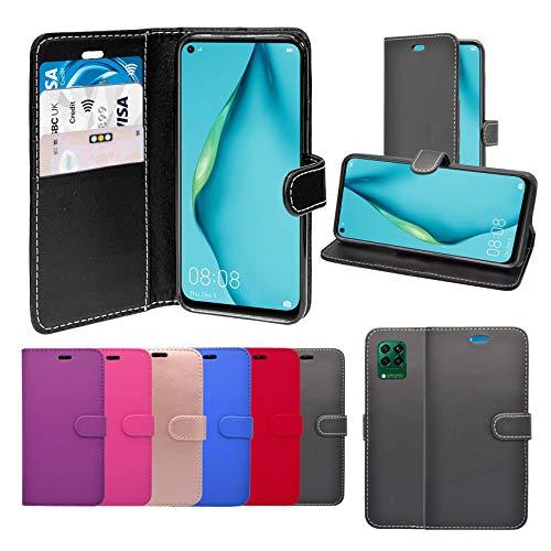 Schutzhülle für Huawei P40 Lite, PU-Leder, Standfunktion, Kartenfächer, kompatibel mit Huawei P40 Lite, Schwarz