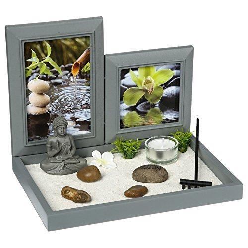 ATMOSPHERA CREATEUR D\'INTERIEUR Zen-Garten: Buddha auf einem Tablette mit Fotorahmen, Teelichthalter, weißem Sand, Steinen, Einer kleinen Harke, etc.