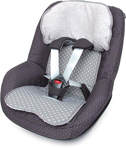 PRIEBES FELIX Sitzauflage für Autokindersitz Gruppe 1 | Universal Sitzeinlage für Kindersitze | Schonbezug 100% Baumwolle | waschbar & atmungsaktiv |beidseitig verwendbar, Design:stars grau