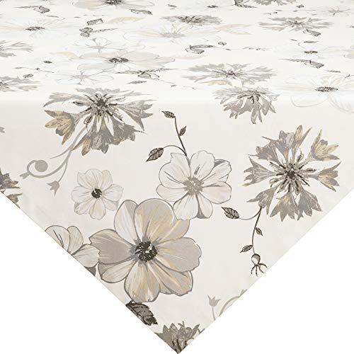 Erwin Müller Mitteldecke, Tischdecke Blumen Blume Größe 110x110 cm - robuste Qualität, mit hochwertigem Kuvertsaum und Fleckschutz ausgerüstet, 100% Baumwolle