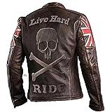 UK Drapeau Biker Vintage Style Moto en Cuir véritable Moto Veste Brun foncé avec crâne Logo en Relief sur Dos-XL