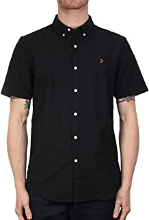 Brewer Black Ink Short Sleeve Slim Fit Oxford Shirt