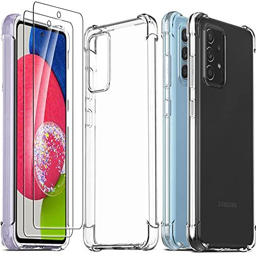Ferilinso für Samsung Galaxy A52 4Gund5G/ A52s 5G Hülle + 2 Stück Panzerglas Schutzfolie [Transparent Silikon Handy Hüllen] [Stoßfest Kratzfest ] [Shock Absorption Schutzhülle]