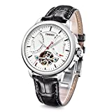 Time100 Reloj de los Hombres Mecánico Automatico Tourbillon-Estilo de Color Negro de la Correa de Reloj de Pulsera
