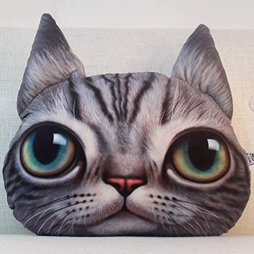 LEV Cushion - 38x 48cm super Big Personality 3D cat Head Cute car and livingroom Sofa Cushion Office nap Pillow with core Festival Gift Items - by 1 PCs