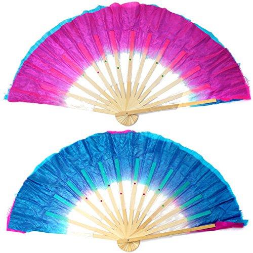 Bazaar bicolor bamboe zijde dans klederdracht Chinese fan handgemaakte Baladi-fans