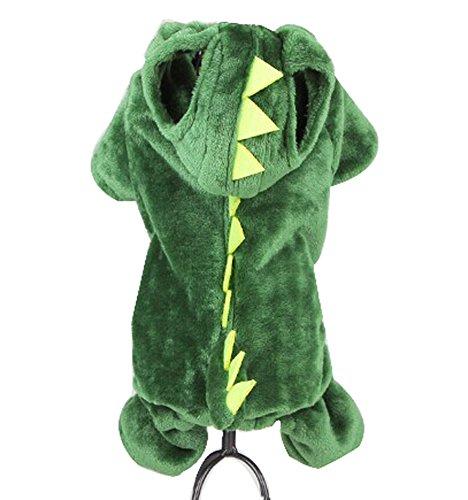 Blancho confortable Coton d'hiver pour chien pour animal domestique Vêtements (Dinosaure Vert Costume, taille L)