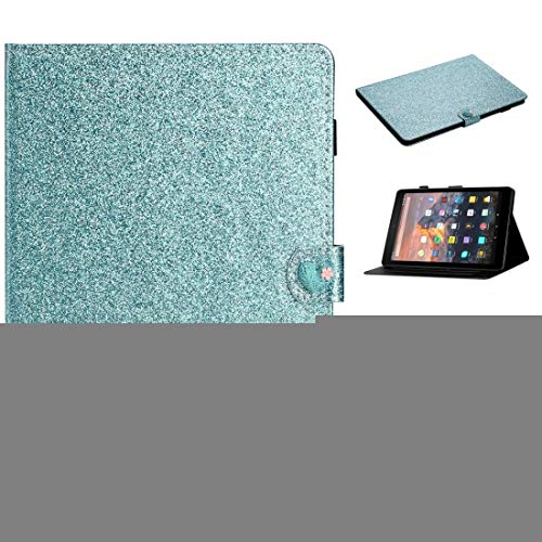 XHEVAT Tablet PC Cases For Amazon Kindle Fire HD 8 Love Buckle Glitter Horizontal Flip Leather Case with Holder & Card Slots (Color : Blue)