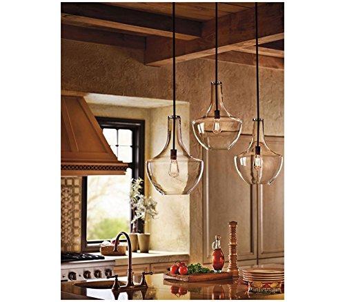 Kichler 42046OZ, Everly Round Pendant, 1 Light, 100 Total Watts, Olde Bronze