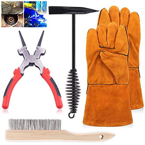 Keadic Professional Welding Slag Removal Tools Kit, including 10 Inch Welding Chipping Hammer with Coil Spring Handle, Welding Plier, Wire Brush & Welding Gloves Heat/Fire Resistant