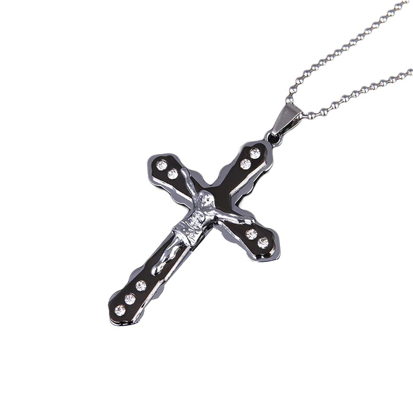 Mrsalontek Men Religious Necklaces, Classic Jesus Cross Rhinestone Inlaid Dangle Metal Chain Faith Neck Jewelry Black