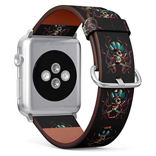 R-Rong kompatibel Watch Armband, Echtes Leder Uhrenarmband f¨¹r Apple Watch Series 4/3/2/1 Sport Edition 42/44mm - Hand Drawn Pirate Skull with Tentacles of Octopus