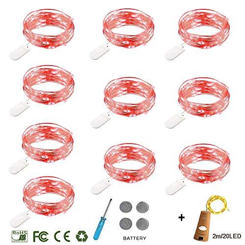 LED Lichterkette mit Batterie ,Morbuy Innen Dekoration Kupferdraht LED Außen Wasserdicht Micro Licht für Innenbeleuchtung Hochzeit Weihnachten und Haus Deko (Rot licht, 1m/ 10 LEDs)